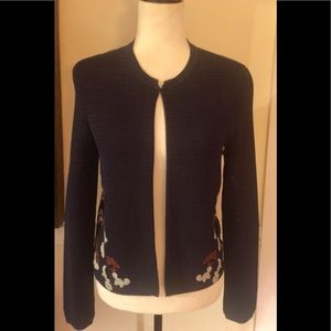 Tory Burch Navy Embroidered Sweater Shrug